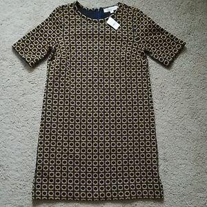 NWT Small Gold/Navy Print Ann Taylor Loft Dress